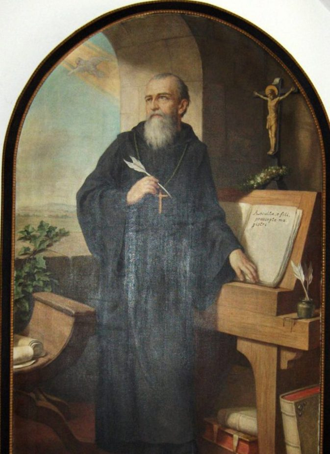 St. Benedict of Nursia writing the Benedictine rule, portrait in the church of Heiligenkreuz Abbey near Baden bei Wien, Lower Austria. Portrait (1926) by Herman Nieg (1849-1928)